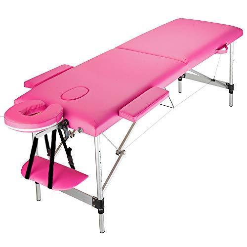 Finewen Aluminium Massagetisch - 3 Abschnitt verstellbares, tragbares Massagebett für Salon Beauty Physiotherapie Gesicht SPA Tattoo Haushalt, 185 x 60 x 63 cm