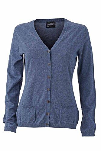 JAMES & NICHOLSON - cardigan - gilet boutons - coton - soie - cachemire - col V - JN667 - Femme bleu denim