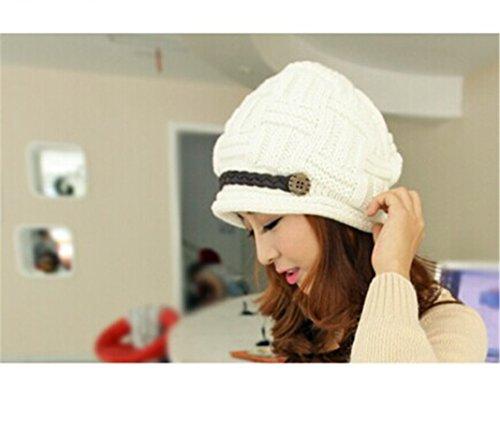 LnLyin Winter Herbst Frauen-Dame-Girl stricken Außen Knit Slouch Beanie Hat Cap (Weiß) Knit Slouch Beanie