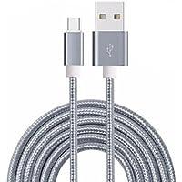 Fone-Case (Grey) 2 IN 1 Cavo Tipo-C a USB di Nylon Intrecciato per Trasferimento Dati e Ricarica 1 Metro Laccio per Blackberry Dtek60
