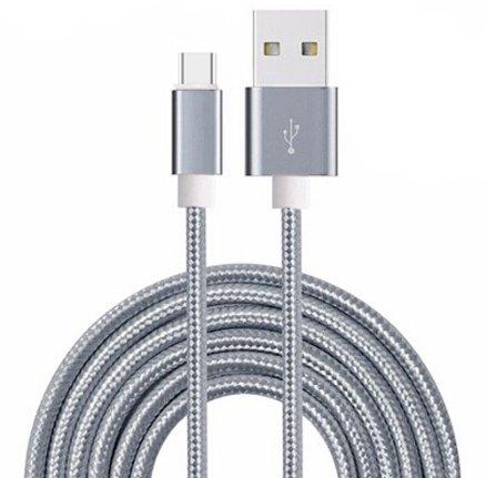 ONX 3 (Grau) Premium Qualität 1 Meter USB-Typ-C-Kabel Nylon geflochten schnell aufladen und Daten Transfer Kabel mit umschaltbarer Anschluss für ZTE Blade 512 - Daten-transfer-kabel