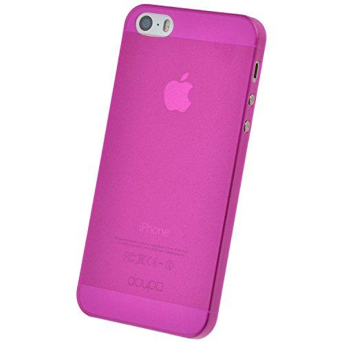 doupi UltraSlim Hülle für iPhone 5 5S SE, Ultra Dünn Fein Matt Handyhülle Cover Bumper Schutz Schale Hard Case Taschenschutz Design Schutzhülle, pink