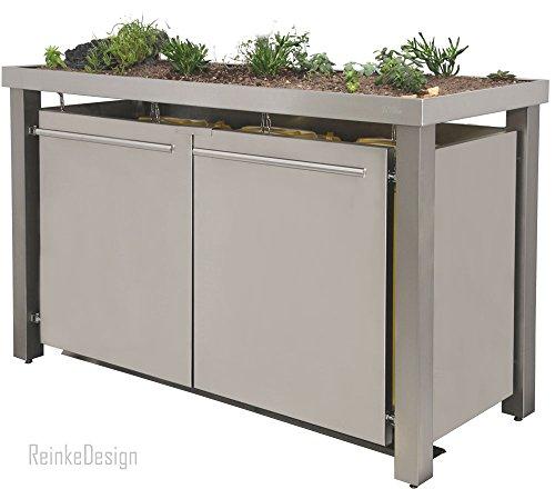 *Reinkedesign Mülltonnenhaus aus Edelstahl mit Pflanzenwanne 3x120L*