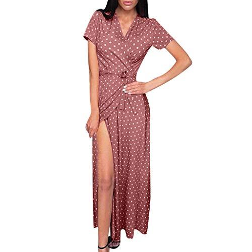 Lazzboy Frauen Beiläufige Sommer-Punkt Gedruckte Kurze Strand Kleid Sommerkleid Damen 50er Jahre Audrey Hepburn Vintage Kleid Rockabilly Cocktail Partykleid Polka Dot(Rosa,M)