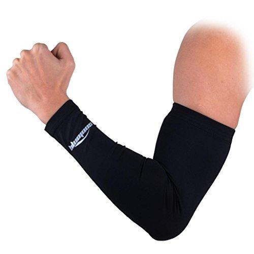 COOLOMG Arm Sleeves Armwärmer Kompression Armlinge Rutschfest Anti UV Running Radfahren für Damen Herren 1 Stk. Schwarz M