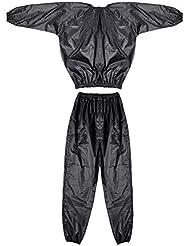 Neverland sudor traje de sauna Traje Gimnasio de Ejercicio Fitness Pérdida de Peso anti-rip Sport Home 5size, negro, 3XL