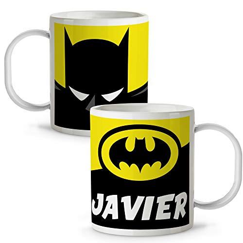 Lolapix Taza plástico Personalizada Batman con Nombre. Superheroes. Friki. Varios diseños.
