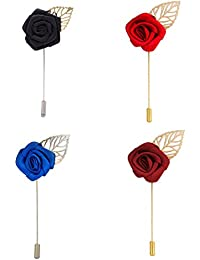 Style Along Black Rose Red Rose Maroon Rose And Blue Rose Lapel Pin Men Brooch Boutonniere Tuxedo Pins - Pack...