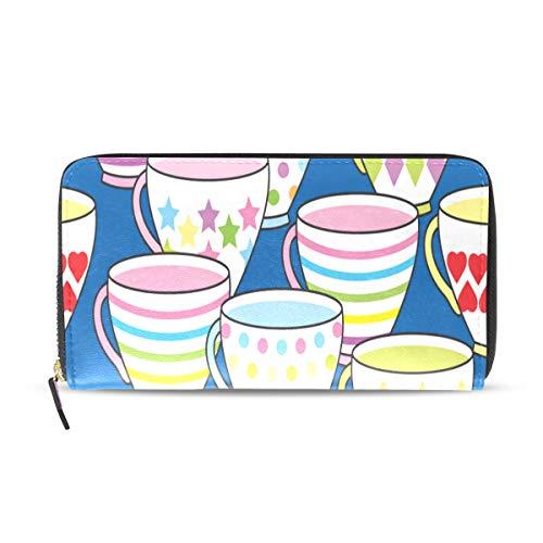 Tea Cup Diferent Model Long Passport Clutch Purses Zipper Wallet Case Handbag Money Organizer Bag Credit Card Holder For Lady Women Girl Men Travel Gift