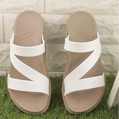 zhENfu donna sandali di gomma Slingback Estate Casual tacco piatto Bianco Nero Rosso 1A-1 3/4in White