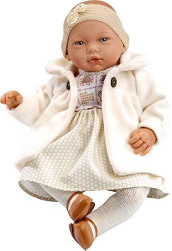 Munecas Guca 457 Nadia - Muñeca de bebé con Capa, 46 cm, Color Beige