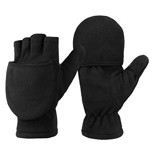 OZERO Damen Winterhandschuhe, Fingerlose Thermo Fahrradhandschuhe Reithandschuhe Motorradhandschuhe, Schwarz, M
