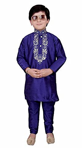 Boys Indian Raw Silk kurta with Churidar for EID Ramadan & Bollywood theme PARTY kids Shalwar 923 (5 ( 5 yrs ), Blue)