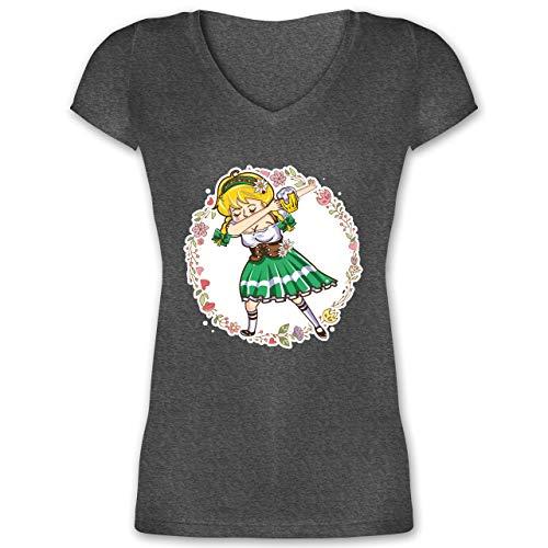 Bayrisches Kostüm Girl Bier - Oktoberfest Damen - Wiesnmadl Dab - grün - M - Anthrazit meliert - XO1525 - Damen T-Shirt mit V-Ausschnitt