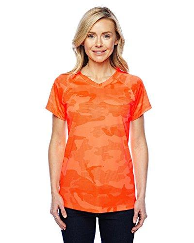 Damen Essential Double Dry V-Neck Tee_Sicherheit Orange Camo_XL (Tee V-neck Camo)