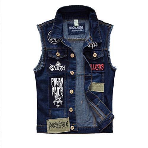 YAFEIYA Herren Patches Design Jeans Weste, Ripped Denim Weste Herren Denim Weste Man Sleeveless Jeans Weste ausgefranst,Blue,XXL