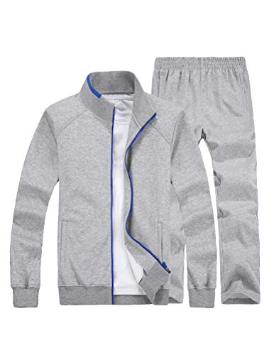 Lavnis Herren Casual Trainingsanzug Langarm Full Zip Laufen Jogging Sport Set - grau - Mittel Fleece Full Zip Suit