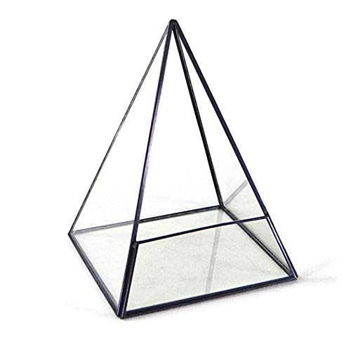 Glasblumentopf für Kupfer Modernes Glasterrarium Aufbewahrungsbehälter-Pyramide aus Metall mit Glas Succulents Terrarium Container for Sukkulenten, Tillandsien, Kerzenhalter Geometrische Glasbehälter