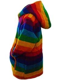 Fleece Lined Classic Rainbow Design Handknitted Woollen Jacket - Fair Trade