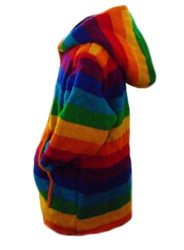 One World is Enough Forro Polar clásico arcoíris Modelo-Chaqueta de Lana Tejida a Mano-Comercio Justo Arco Iris Large