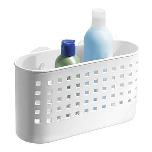 iDesign Duschablage mit Saugnapf, großer Duschkorb ohne Bohren aus Kunststoff, Seifenablage mit Ablauföffnungen für die Dusche, weiß (Bad-dusche-organisation)