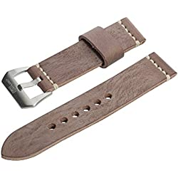 20mm Brown Wax Finish Full Thickness Italian Leather Watch Band with Satin Finish Stainless Steel Buckle