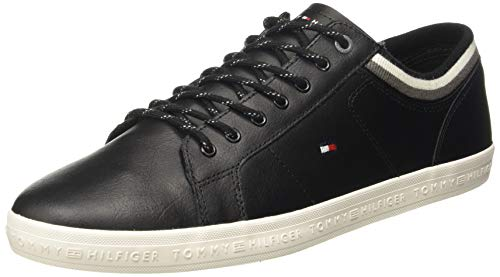 Tommy Hilfiger Men's Essential Leathermix Low Black Sneakers-10 UK/India (44 EU)(A8AMF255)