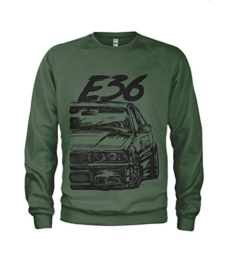 1/4 Mile E36 M3 3 Series Herren Sweatshirt Pullover #2066 (M, Militargrün)