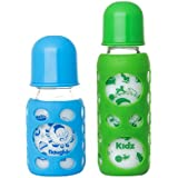 Naughty Kidz Premium Warmer Glass Bottle With Ultrasoft LSR Nipple||Silicone Bottle Warmer||Key TEETHER||Hood RETAINING Cap And Sealing DISC RING-120ML+240ML (Blue+Green)