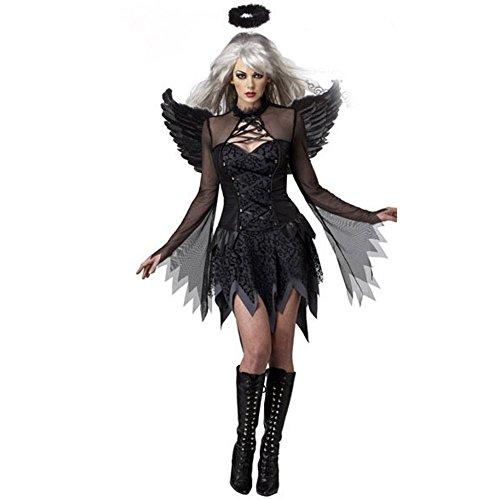 Cosfun Damen Schwarzer Engel Hexe Cosplay Kostüm Kleid Karneval Halloween Fasching Gothic