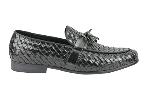Herren Schwarz Braun Hand Woven echtem Leder Mod Metall Teller Quaste Trim Loafer Slip auf Schuhe Schwarz