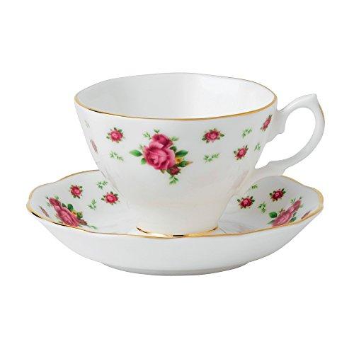 Royal Albert New Country Roses Weiß Vintage Teetasse und Untertasse (Royal Albert Und Untertasse Tasse)