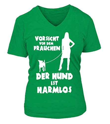 HUNDE Motiv T-Shirt: Vorsicht vor dem Frauchen - der Hund ist harmlos (Jack Russel) - Damen Shirt Größe S bis XXXXL - in versch. Farben irisch grün