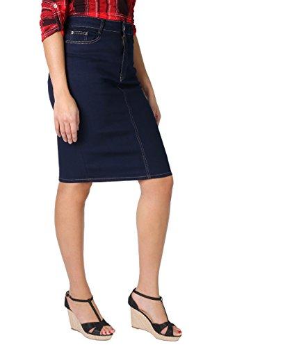 2115-NVY-20: Swirl Stitch Plus Pencil Denim Skirt (Marineblau, Gr.48) (Stitch Jeans Blau)