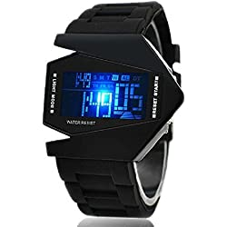 Ouku®Rubber Fashion Cyber Multi-functional Digital Stopwatch Analog Sport LED Quartz Watch, Black