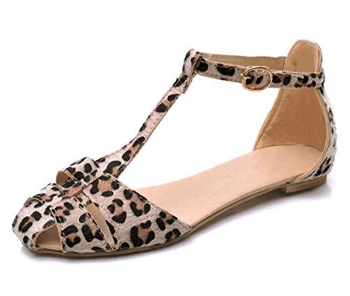 ap süße Flache Sandalen Closed Toe Buckle Strap Ausgeschnitten Party Schuhe ()