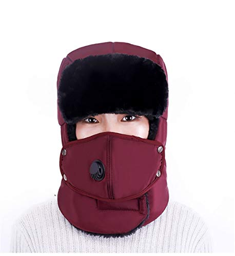 VJUKUB Männer Unisex Warm Trapper Aviator Trooper Earflap Winter Ski Hat mit Maske Baggy Slouchy Knitting Hüte,DarkRed