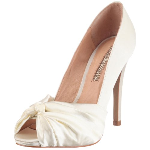 Buffalo London 107-7244 SATIN 109842, Damen Peeptoes, Beige (IVORY 08), EU 40