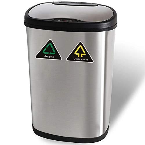 Cubo de Basura Automático - 13 Gallon / 50L Cubo de Basura con Sensor Automatico de Reciclaje Acero...