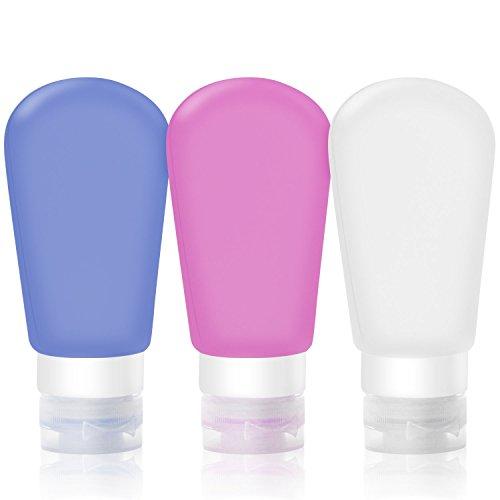 Reiseflaschen Set aus Silikon mit lecksicher Verschluss, ein Set von 3 Stück/ Farben: Blau, Weiß und Rosa/ Flugzeug tragbar