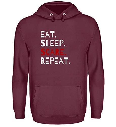 Shirtee Eat Sleep Scare Repeat - Diabolischer Spaß am Erschrecken und Fürchten zu Halloween - Unisex Kapuzenpullover Hoodie