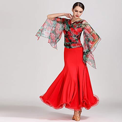 Liu Sensen Frauen Classic Dance Kleid Rot Florale Drucke Florale Top-Social-Dance-Rock Latin Bauchtanz-Outfit Wettbewerb Kostüm Voluminöse Rock Große Größe XL 2XL,XL