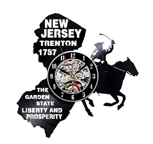 Mrzy New Jersey Geschenk Uns Staaten Stadt Vinyl Record Wanduhr Dekoration Moderne Vintage Kunst Zimmer