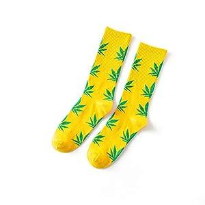 LAIYYI Ahornblatt Hohe Mannschafts Socken, Mode Unisexunkraut Blatt Druckten Bunte Zufällige Socken Paar Baumwollsocken Für Herbst Winter