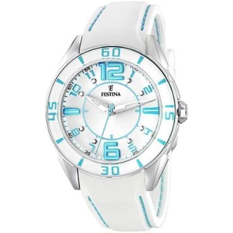 FESTINA F16492/2 - Reloj de mujer de cuarzo, correa de piel color blanco