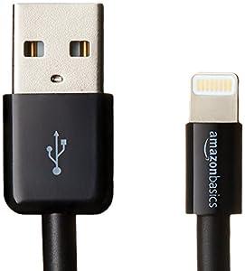 AmazonBasics Ladekabel Lightning auf USB, 1,8m, zertifiziert von Apple, 2 Stck, Schwarz