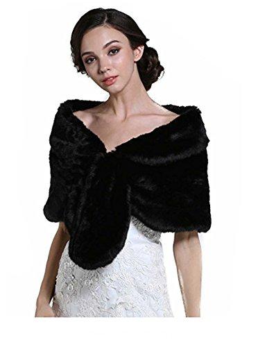 Aukmla Wedding Fur Wraps und Tücher, Pelz Stola und Schal für Frauen und Mädchen. (Schwarz) Pelz