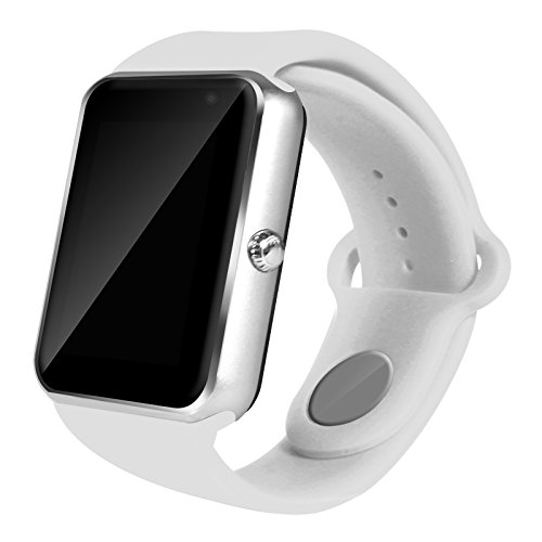 AIYIBEN Bluetooth Touch Screen 1,54 Zoll LCD display Bildschirm Bluetooth 3.0 Smart Watch Wrist Watch Phone Watch kompatibel mit iPhone Samsung Sony LG HTC und vieles mehr (Silver+white)