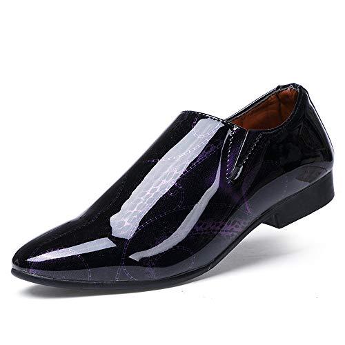 HILOTU Geschäfts-Oxford-zufällige Persönlichkeit der Mode-Männer Geschäfts-Show-weg von der Farbe spitze Patent-Lack-formalen Schuhen (Color : Lila, Größe : 41 EU)