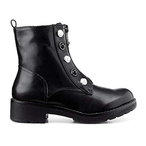 Cox Damen Damen Trend-Stiefelette aus Kunst-Leder, Damen-Boots in Schwarz mit auffälligen Perlen schwarz Synthetik 38